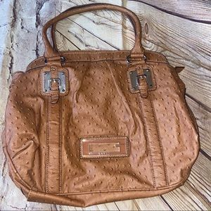 Guess Large Tan Satchel Purse Bag
